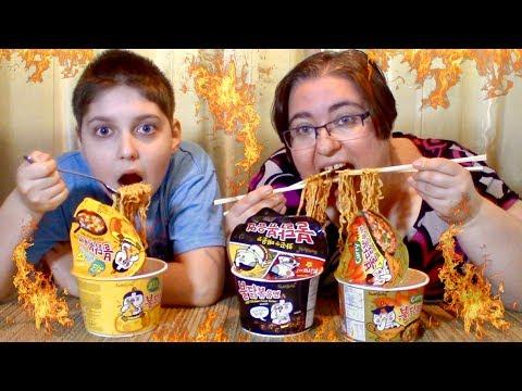 Samyang Korean 🔥Fire🔥 Noodles Curry, Original And Cheese 🧀  | Gay Family Mukbang (먹방) - Eating Show