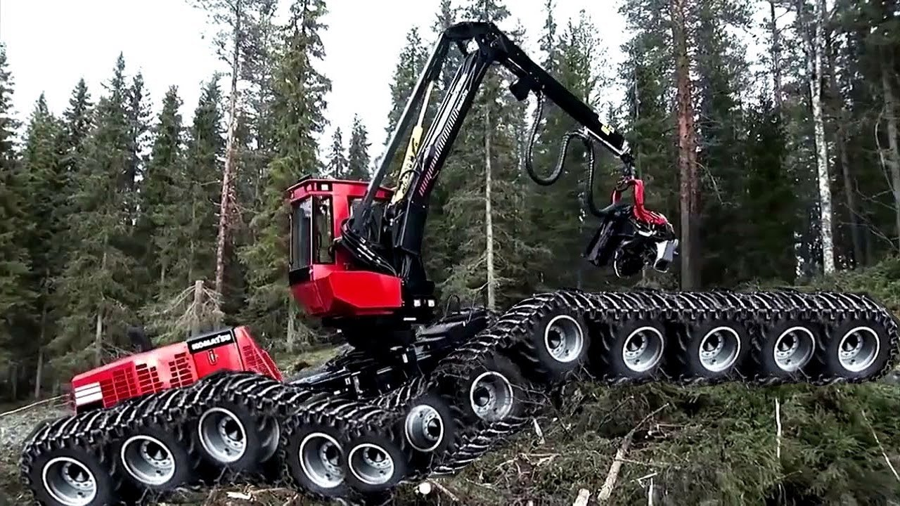 Amazing Fastest Skill Chainsaw Tree Cutting Tractor Machines, Big Felling Tree Heavy Equipment
