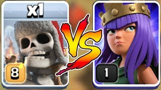 THIS QUEEN HOLDS HER OWN AGAINST GIANT SKELETON!! | Clash of clans | TROLL w/ NEW TROOP!!