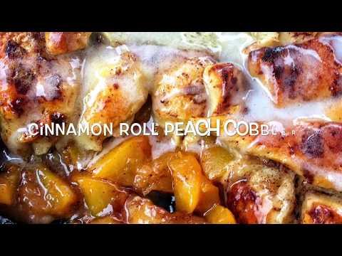 Quick and easy cinnamon roll peach cobbler !!