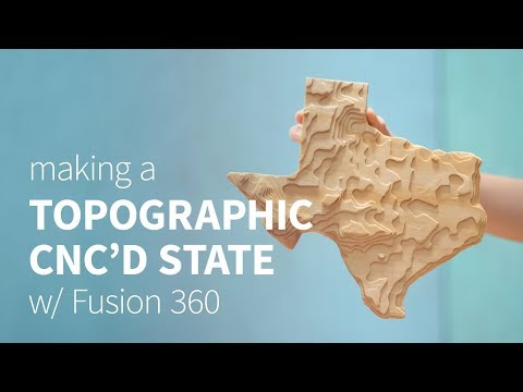 CNC topographical wooden state w/ Fusion 360