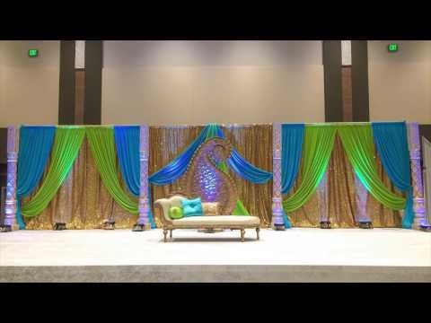 BEHIND THE SCENES: Wedding Stage Setup with Fabric Backdrop by Elegance Decor