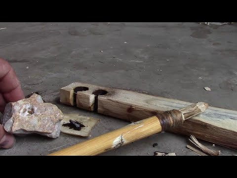 Making a rock hand hold for your bow drill fire starting set