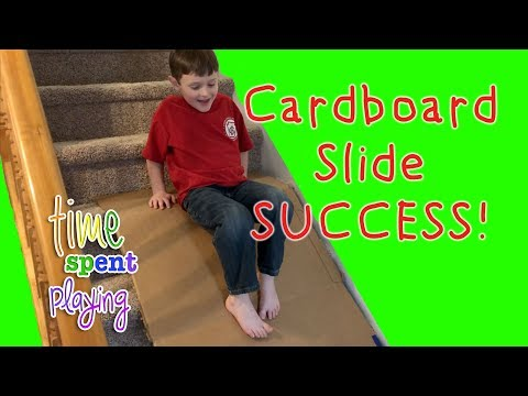 SUCCESS: DIY Cardboard Slide for Stairs | Family Fun at Home