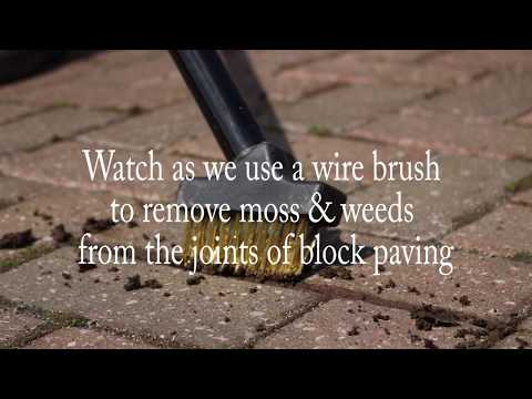 How to use a wire brush to remove moss & weeds from block paving