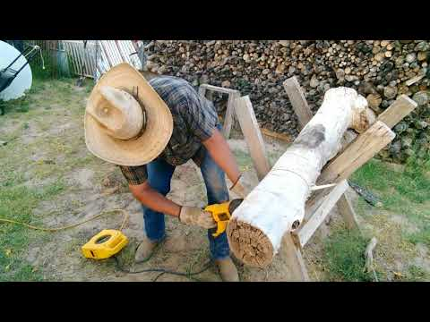 Firewood process using saw horse