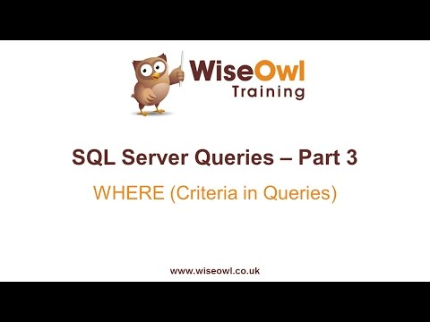 SQL Server Queries Part 3 - WHERE (Criteria in Queries)
