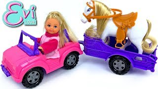 Unboxing Evi Love Horse And Trailer Playset - Evi Goes Jumping And Trick Riding On Her Playful Pony