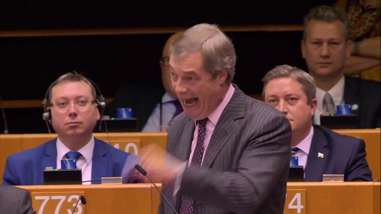 Nigel Farage MEP gives his last speech in the European Parliament