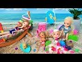 Sandcastles! Anna and Elsa Toddlers Beach Day! Barbie Chelsea Swimming Waves Floaties Toys & Dolls