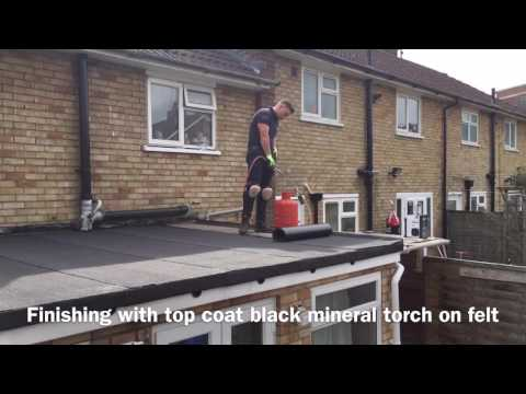 M&K ROOFING AL74 new Flat roof double layer black mineral torch on felt