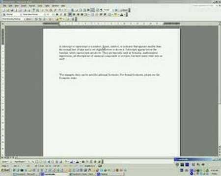 Word Subscript Supercript
