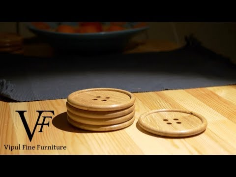Making Wooden Button Coasters (4K)