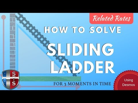 Calculus - Related Rates - Sliding Ladder Model w/ 3 Snapshots using Desmos