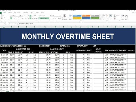 #97 How To Make Monthly Overtime Sheet in Excel Hindi