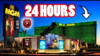 (MEGA!) 24 HOUR OVERNIGHT CHALLENGE in MGM GRAND HOTEL | SNEAKING IN THE MGM GRAND OVERNIGHT FREE 😱