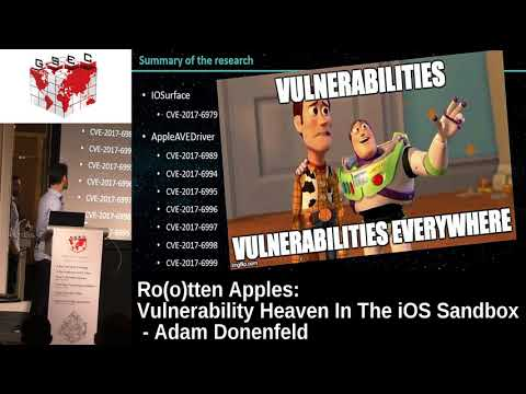 #HITBGSEC 2017 Conf D2 - Rootten Apples: Vulnerability Heaven In The iOS Sandbox - Adam Donenfeld