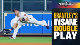 SO CLUTCH! Michael Brantley's INSANE catch gets double play for Astros in ALCS Game 6 vs Yankees