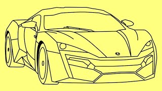How to draw Lykan HyperSport Fast and Furious 7 car - Cómo dibujar Lykan HyperSport