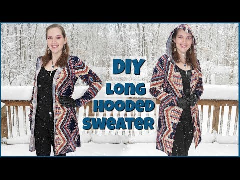 DIY Long Cardigan with Hood | How to Sew a Full Length Sweater Easy