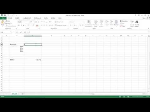 Excel  2013 Tutorial - How to Calculate  the Percent Distribution with a Total Cell