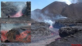 Lava Flows Extremely Close, Fogo Volcano Eruption, 2014