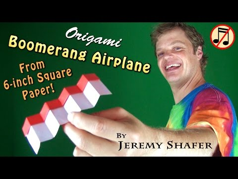 Origami Boomerang Airplane from 6-inch Kami (no music)