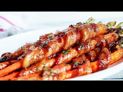 Sriracha Maple Bacon Wrapped Carrots // Kevin Is Cooking