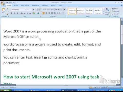 Microsoft word 2007 tutorials:How to open Microsoft word document from taskbar?