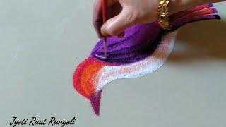 सुंदर कलरफुल पक्षाची सोपी आणि आकर्षक रांगोळी डिझाईन by Jyoti Raut Rangoli