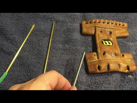 how to relace a baseball glove needle part 3