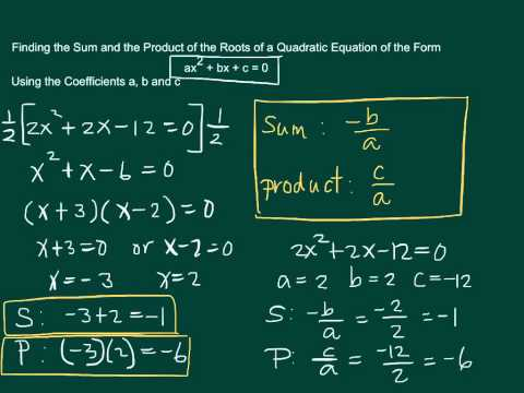 Finding the Sum and the Product of the Roots of a Quadratic Equation