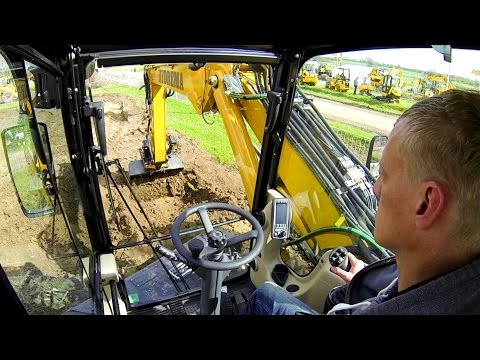Hydrema MX16 Wheel Excavator With Tiltrotator Test Drive: Cab View