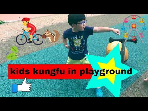 Children in playground / wheels on the bus / kids kung fu demo
