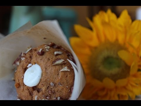 Pecan Pumpkin Spice Muffins with a Cream Cheese Center
