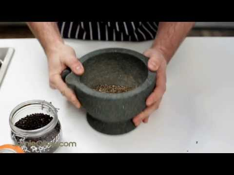 Jamie Oliver's team show you how to use a pestle and mortar