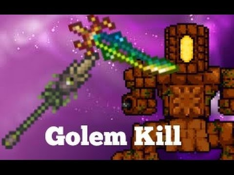 Terraria Golem kill   Scourge of the corruptor and Terra blade