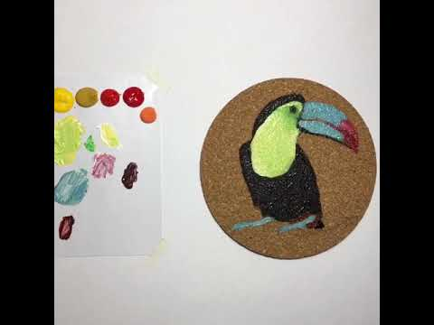 Toucan DIY coaster painting