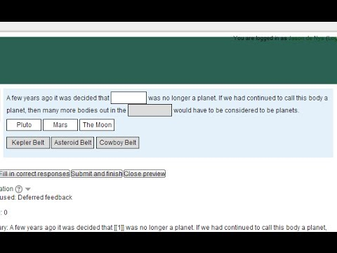 Moodle: Drag and drop into text question (cloze)