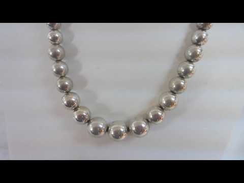 Tiffany & Co. Graduated Sterling Silver Beads Necklace