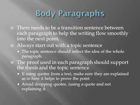 Organizing The Essay: Introduction, Body and Conclusion Paragraphs