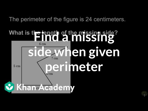 Finding missing side length when given perimeter | Math | 3rd grade | Khan Academy
