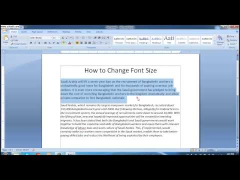 How To Change Font Size in MS Word 2007 #Lesson 16