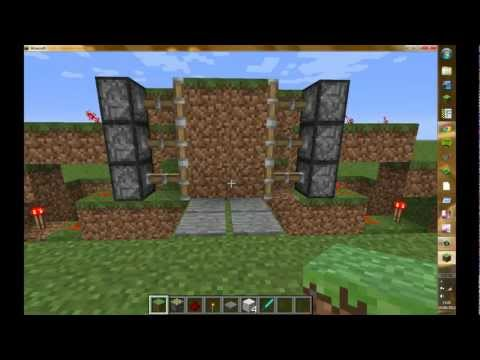 How To: Build a Pressure Plate activated Sticky Piston Door on Minecraft.