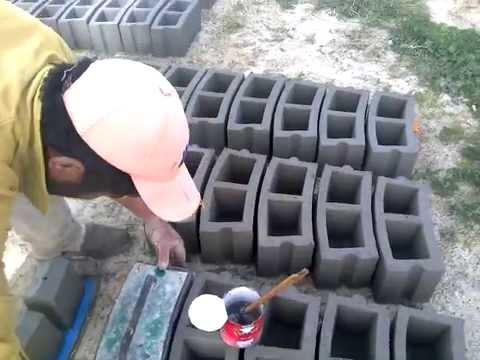 making  curved concrete blocks for well construction