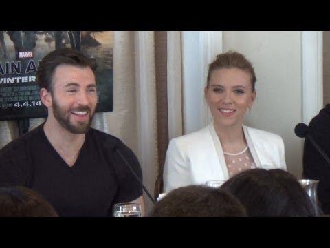 Marvel Captain America Press Conference With Chris Evans, Scarlett Johansson, Samuel L. Jackson