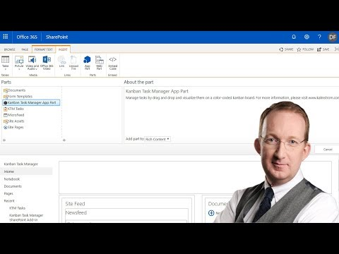 Insert the Kanban Task Manager App Part in a SharePoint page