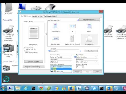 How to change printer default preference dual size, color or black white Ricoh MP6502