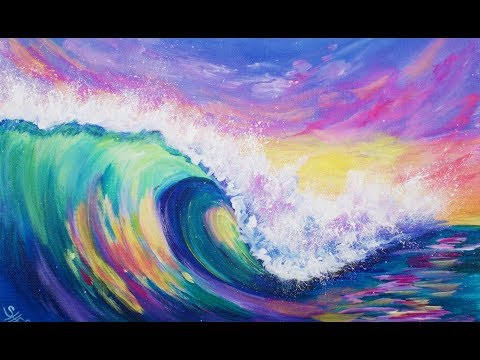 3 Color Challenge WAVE AT SUNSET 🌊🎨  Acrylic Painting Tutorial