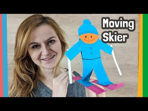 Paper Skier DIY for kids - moving and fun craft to make